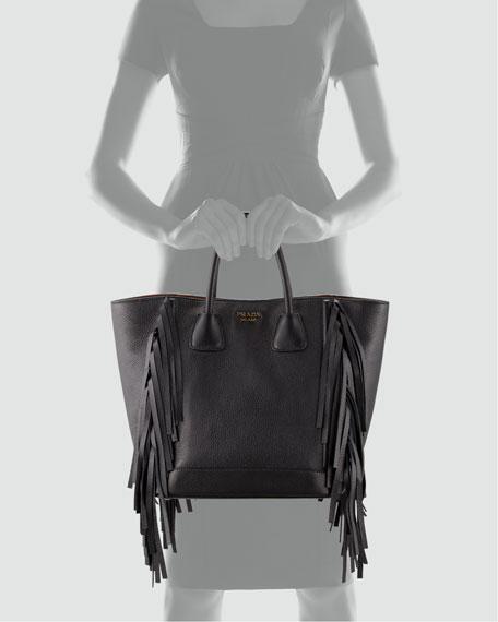 Cervo Fringe Tote Bag, Black