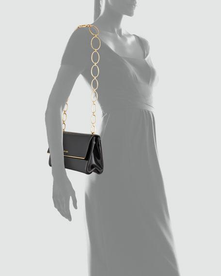 Spazzolato Chain Shoulder Bag, Nero