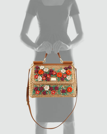 Miss Sicily Floral Crocheted Straw Satchel
