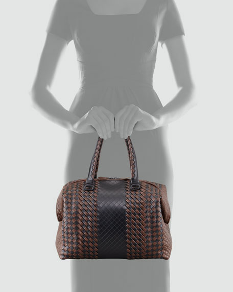 Bicolor Double-Handle Woven Tote Bag, Black/Brown