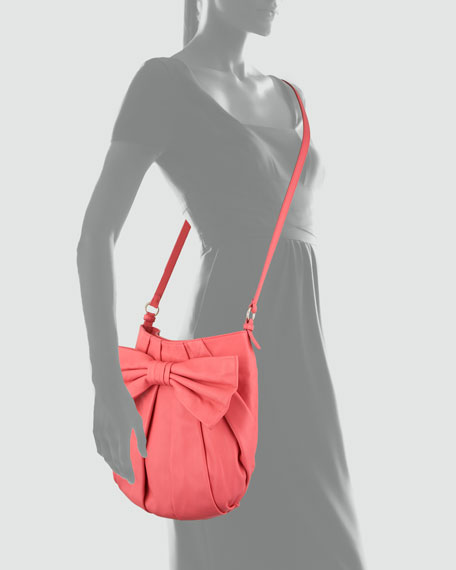 Bow-Front Calfskin Medium Crossbody Bag, Pink