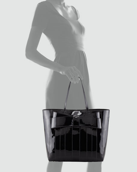 Shirley Bow Shopper Tote, Black