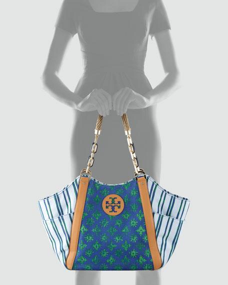 Karlya Mix-Print Tote Bag, Blue