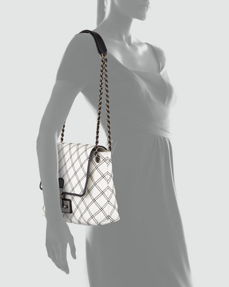 The Single Baroque Large Two-Tone Quilted Bag, White/Black