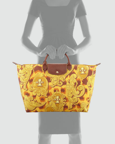 Jeremy Scott Large Le Pliage Leopard Travel Tote Bag