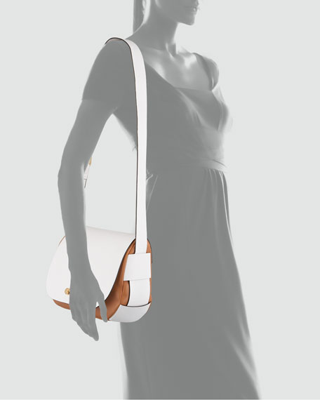 Bicolor Leather Shoulder Bag