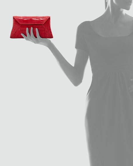 Crocodile Convertible Clutch Bag, Red