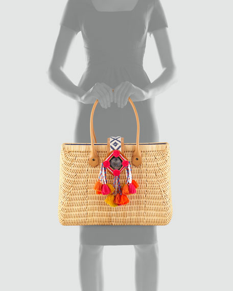 Rattan Pom Pom Tote Bag, Natural