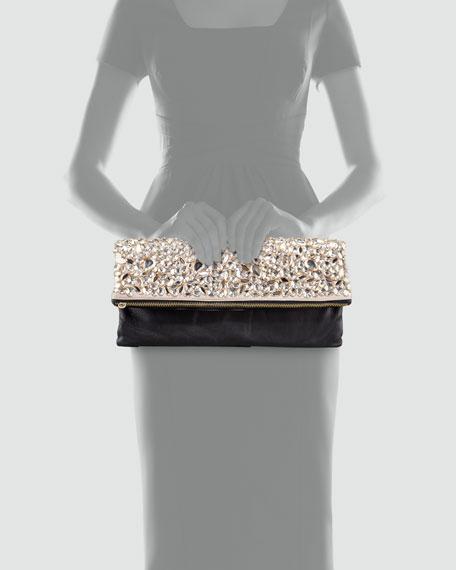 Rihanna Crystal Foldover Clutch, Champagne