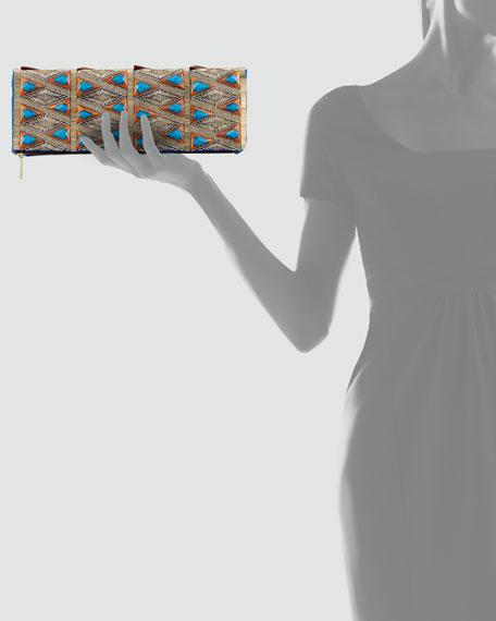 Rihanna Beaded Fold-Over Clutch Bag, Cobalt