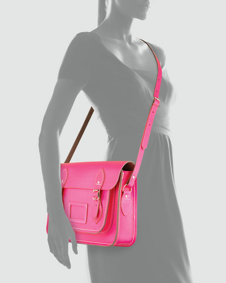 "13"" Classic Leather Satchel, Fluoro Pink"