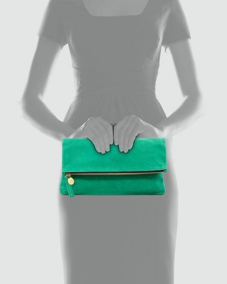 Nubuck Foldover Clutch Bag, Kelly Green
