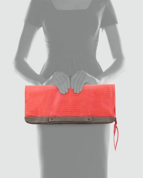 Banker's Oversize Fold-Over Clutch Bag, Pink