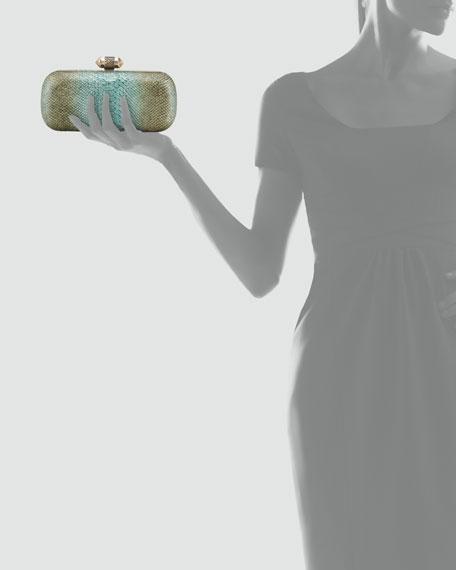 Adele Metallic Snake-Embossed Clutch Bag, Aqua
