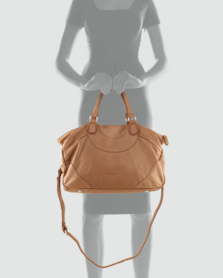 Soft Leather Tote Bag, Beige