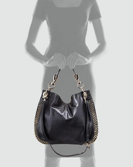 Luscious Mini Studded Hobo Bag, Black