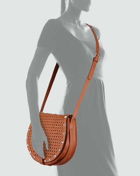 Skylar Wicker-Woven Crossbody Bag