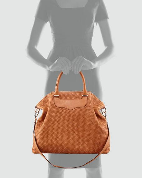 Bonnie Box Woven Leather Satchel Bag, Almond