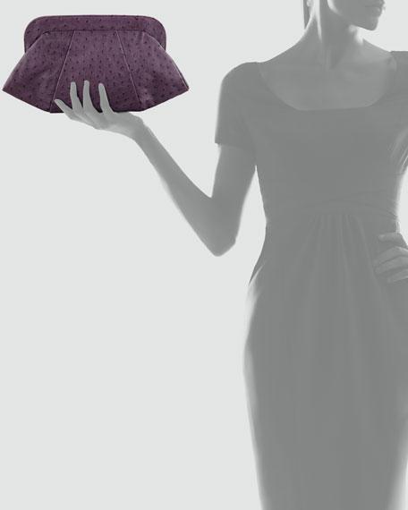 Tatum Ostrich Embossed Clutch Bag, Eggplant