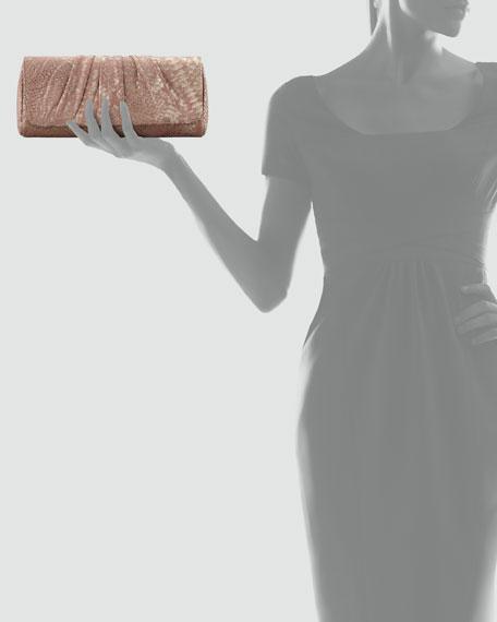Caroline Python Metal Clutch Bag, Nude/Gold