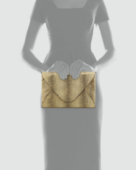 Harlow Snake-Embossed Evening Clutch, Gold