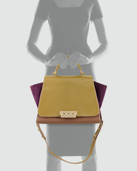 Eartha Colorblock Satchel Bag, Mud/Willow/Royale