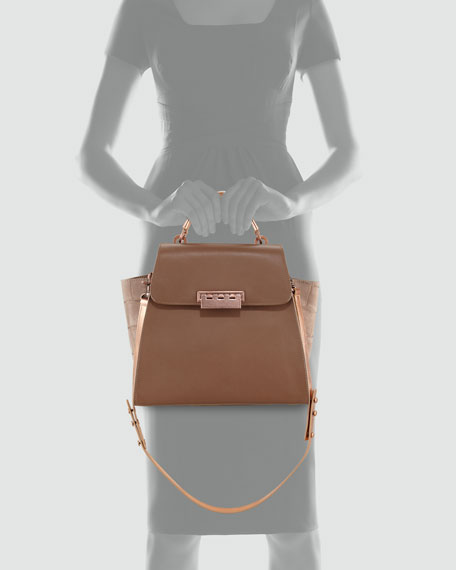Eartha Mixed-Leather Satchel Bag, Natural