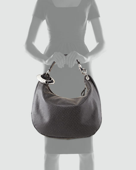 Solar Large Studded Hobo Bag, Black
