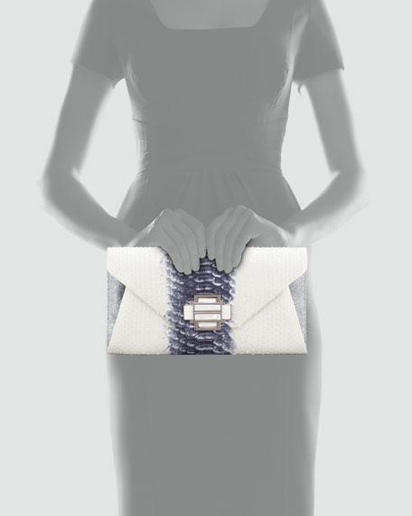 Electra Medium Python Clutch, White