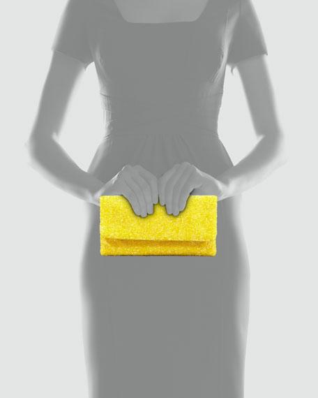 Beaded Flap-Top Clutch Bag, Yellow
