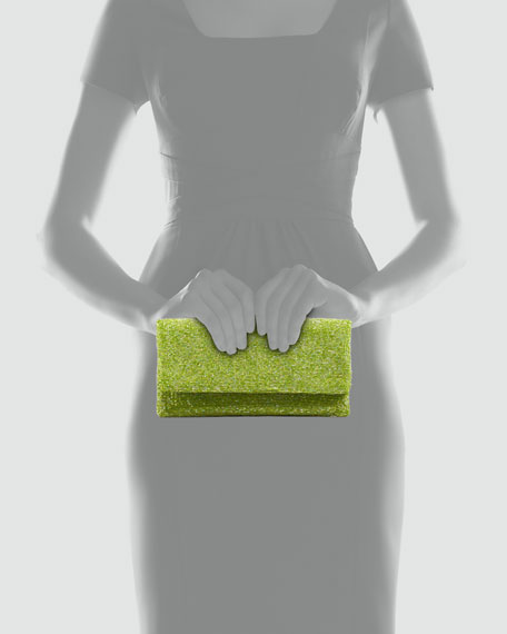 Beaded Flap-Top Clutch Bag, Lime