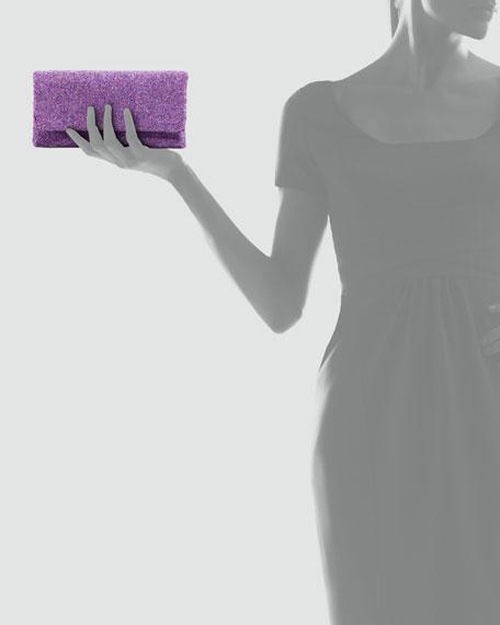 Beaded Flap-Top Clutch Bag, Purple