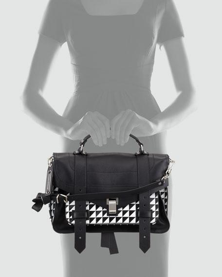 PS1 Medium Printed Satchel Bag, Black/White