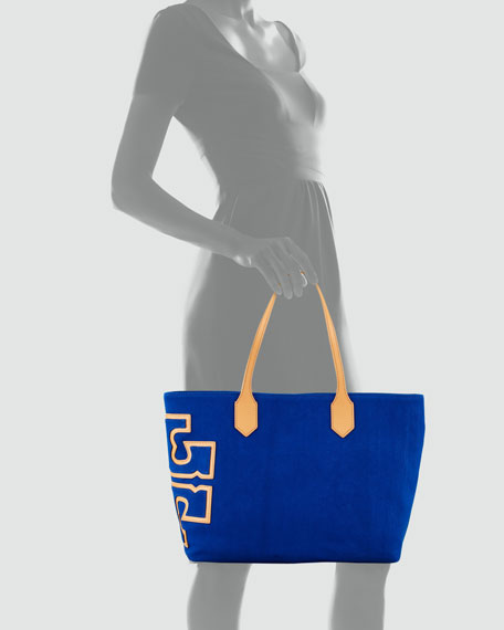 Canvas Stacked-Logo Tote Bag, Royal Ocean