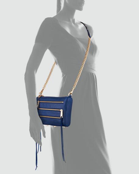 Five-Zip Mini Crossbody Bag, Navy