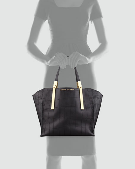 Danes Crocodile-Stitched Leather Shopper, Black