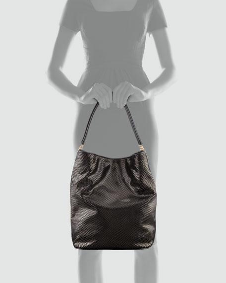 Python-Print Chain-Side  Velvet Hobo Bag, Black