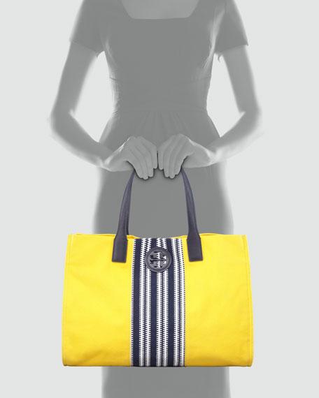 Ella Striped Canvas Tote Bag, Daisy Yellow