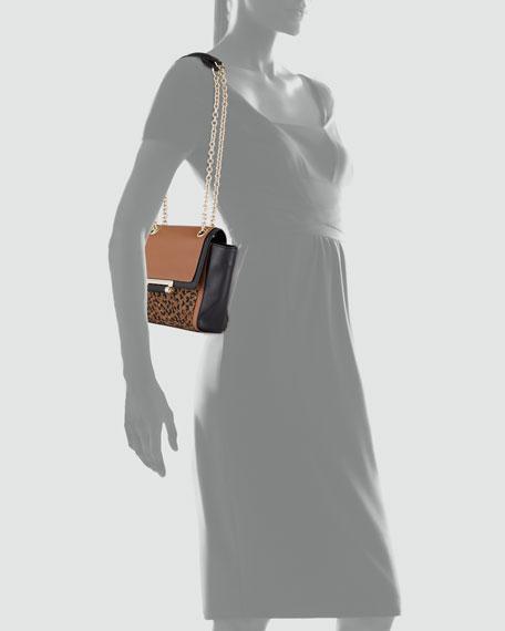 Leopard-Print Mixed-Media Mini Crossbody Bag