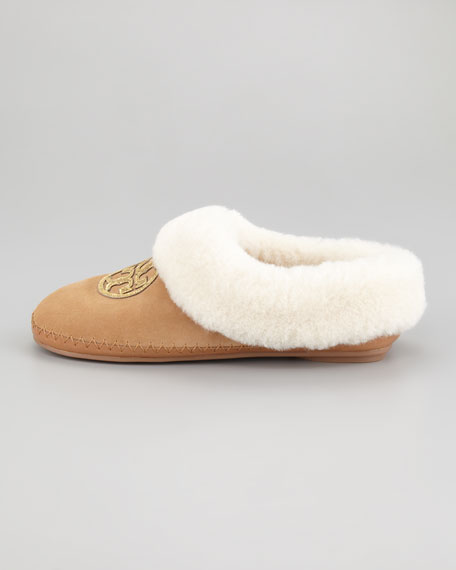 Coley Metallic-Logo Shearling Slipper
