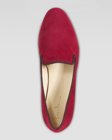Sabrina Suede Smoking Slipper, Tango Red