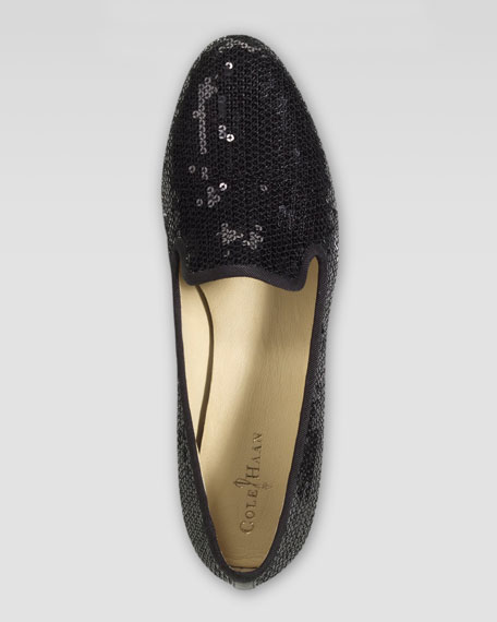 Sabrina Sequin Smoking Slipper, Black