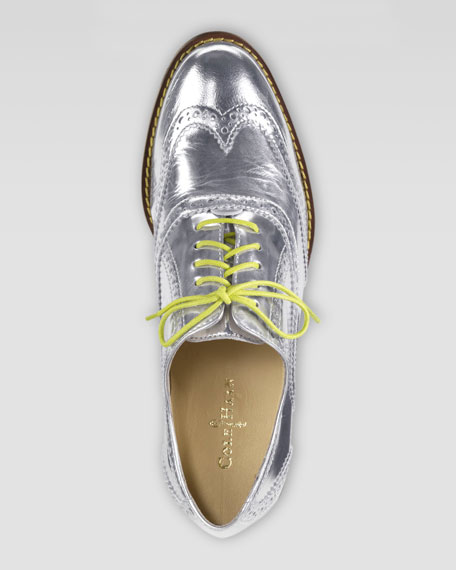 Skylar Lace-Up Oxford, Argento Silver