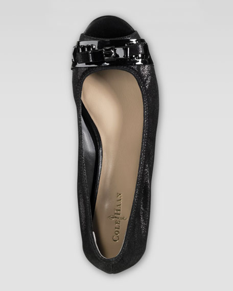 Janine Open-Toe Ballerina, Black
