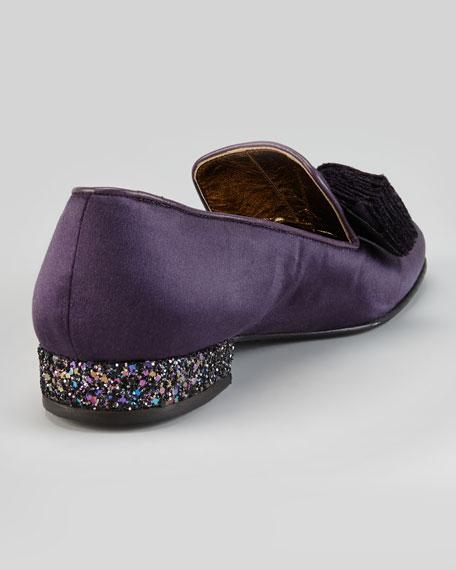 Satin Glitter-Heel Bow Slipper