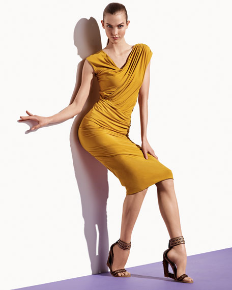 Ruched Jersey Cap-Sleeve Dress