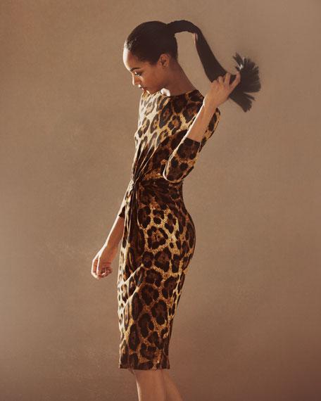 Twist-Front Dress, Leopard Print