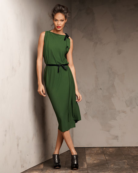 Pitt Asymmetric-Shoulder Dress, Pine Green