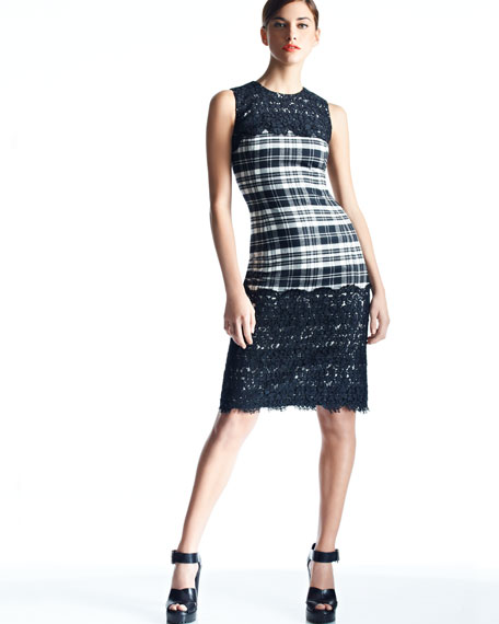 Lace-Panel Plaid Dress