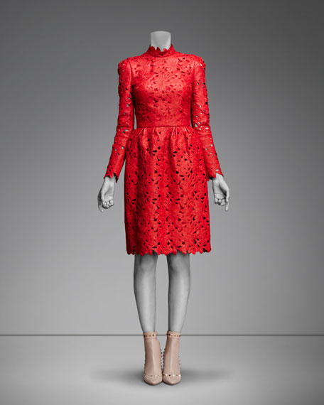 Floral-Cutout Leather Long-Sleeve Dress